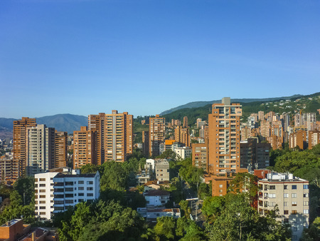 Aerial view of buildings and mountains in Medellin, one of the most important cities of Colombia, in South America