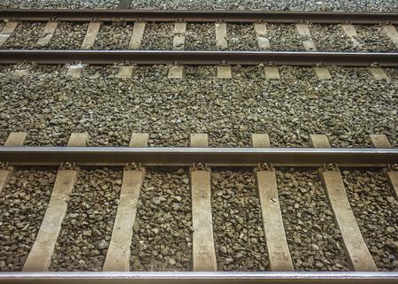 horizontal format: Railroad tracks detail horizontal format photo. Stock Photo