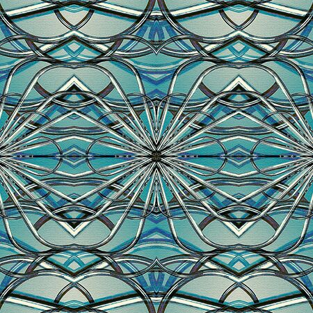 technologic: Digital art style futuristic or tech geometric abstract seamless pattern in cold tones. Stock Photo