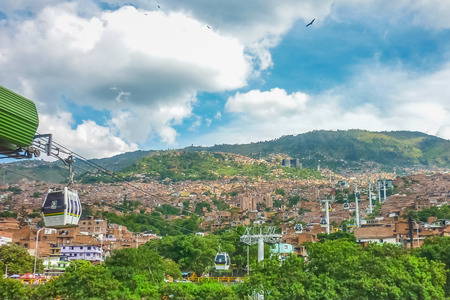 Aerial view from cableway of houses and mountains in Medellin,one of the most important cities of Colombia.