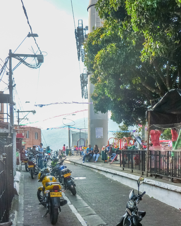 medellin: MEDELLIN, COLOMBIA, DECEMBER - 2014 - Urban scene of poor town in the city of Medellin in Colombia, South America.