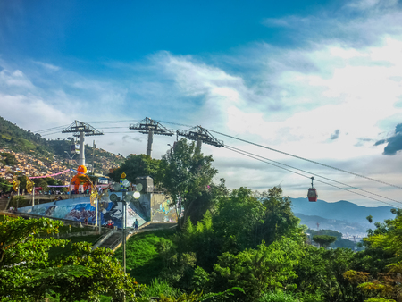 antioquia: Beautiful aerial view of cableway station and mountains in Medellin,one of the most important cities of Colombia.