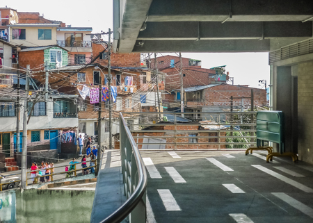highs: MEDELLIN, COLOMBIA, DECEMBER - 2014 - Urban scene of poor town in the city of Medellin in Colombia, South America.