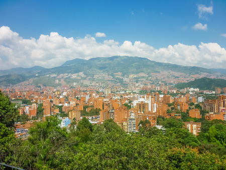 colombia: Aerial view of buildings and mountains from Nutibara hill in Medellin, one of the most important cities of Colombia, in South America