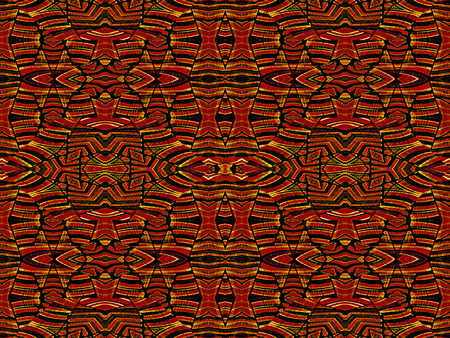 saturated: Intricate geometric tribal style abstract seamless pattern in vivid and saturated red and orange colors.