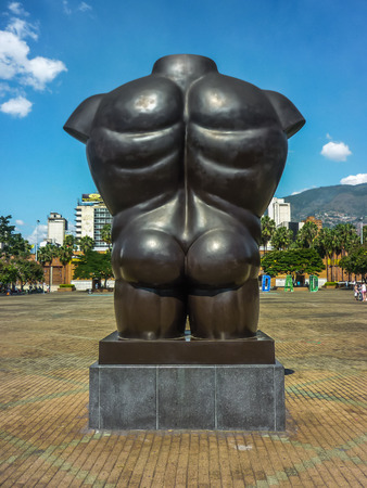 medellin: Back view of botero sculpture in a square in Medellin, one of the most important cities of Colombia. Editorial