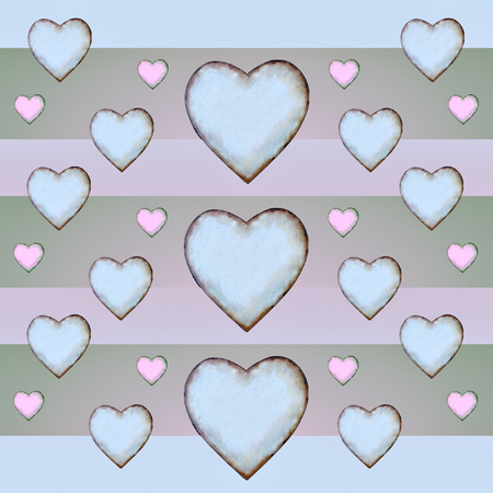 motif pattern: Geometric heart shaped stripped motif pattern in pastel colors. Stock Photo