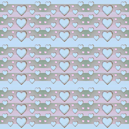 desaturated colors: Geometric heart shaped stripped motif pattern in pastel colors. Stock Photo