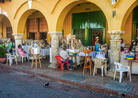 CARTAGENA, COLOMBIA, DECEMBER - 2014 - Traditional vendor in street market at historic center in Cartagena, the most famous seaside resort of Colombia, South America.