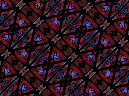 saturated: Digital art technique geometric modern abstract pattern in vivid and saturated dark red and blue colors.