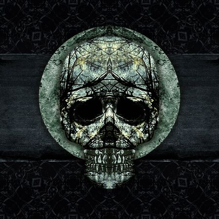 manipulated: Digital art grunge textured skulls decorated ornament artwork background in cold, silver and black colors.