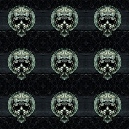 manipulated: Digital art grunge textured skulls ornament art motif dark seamless pattern in silver and black colors.