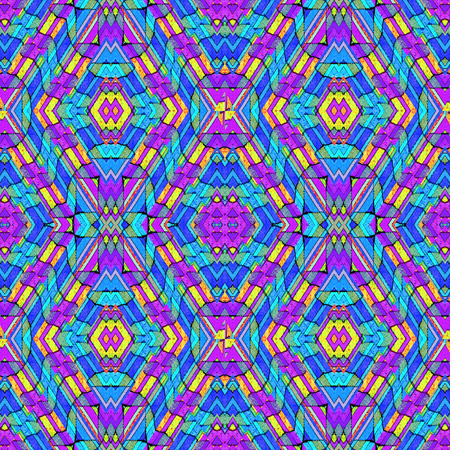 saturated: Digital style abstract geometric seamless pattern background in vivid and saturated multicolored tones.