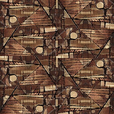 browns: Digital technique collage geometric abstract collage pattern in mixed browns and black colors. Stock Photo