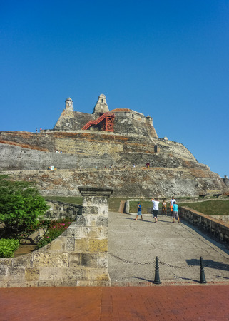 barajas: Tourist entrance of San felipe de Barajas Fortress, an spanish colonial style defense building located in Cartagena,  Colombia
