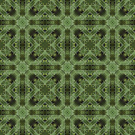 kaleidoscop: Digital art technique modern geometric abstract decorative seamless pattern mosaic design in green tones.