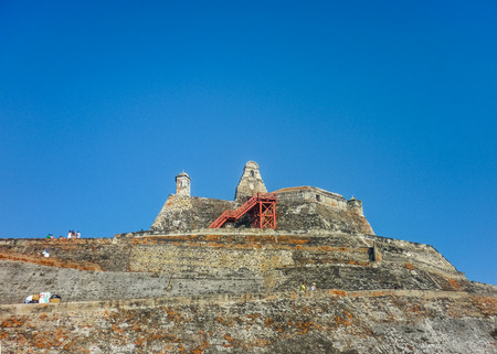 barajas: Low angle view of San Felipe de Barajas Fortress, an spanish colonial style defense building located in Cartagena,  Colombia Editorial