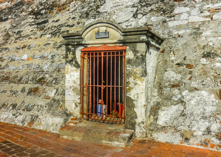 barajas: Jail in the San felipe de Barajas Fortress, an spanish colonial style defense building located in Cartagena,  Colombia Editorial