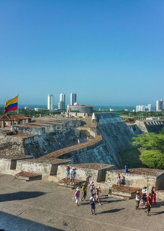 barajas: Aerial view from San felipe de Barajas Fortress, an spanish colonial style defense building located in Cartagena,  Colombia Editorial