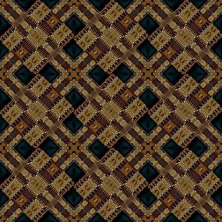 kaleidoscop: Digital art technique modern geometric abstract decorative seamless pattern mosaic design in dark mixed tones.