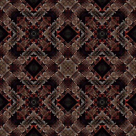 kaleidoscop: Digital art technique modern geometric abstract decorative seamless pattern mosaic design in dark reds and black tones.