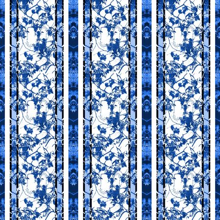 chinoiserie: Chinoiserie striped vintage style beauty floral pattern design design in blue and white tones. Stock Photo