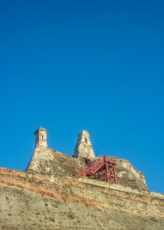 barajas: Low angle view of tower in San Felipe de Barajas Fortress, an spanish colonial style defense building located in Cartagena,  Colombia