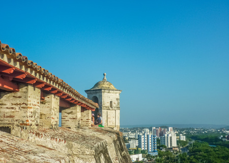 barajas: CARTAGENA, COLOMBIA, JANUARY - 2015 - Nice aerial view of architecture and nature of Cartagena from San Felipe de Barajas Fortress, an spanish colonial style defense building.