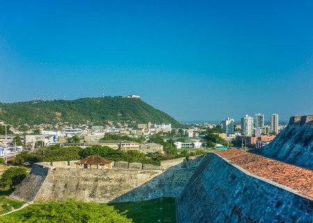 barajas: Nice view of architecture and nature of Cartagena from San Felipe de Barajas Fortress, an spanish colonial style defense building. Editorial