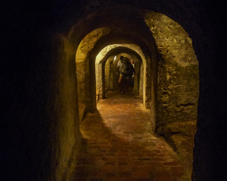 barajas: CARTAGENA, COLOMBIA, JANUARY - 2015 - Tunnels of San Felipe de Barajas Fortress, an spanish colonial style defense building located in Cartagena,  Colombia
