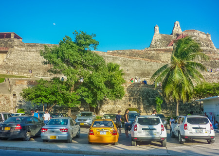 barajas: CARTAGENA, COLOMBIA, JANUARY - 2015 - Low angle view of San Felipe de Barajas Fortress, an spanish colonial style defense building located in Cartagena,  Colombia