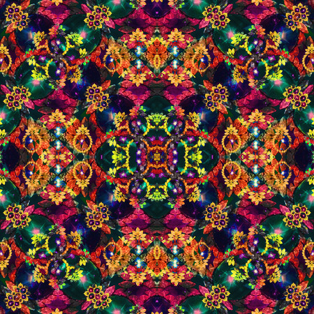 mixed colors: Digital art luxury decorative fancy modern intricate baroque ornament collage pattern in mixed colors.