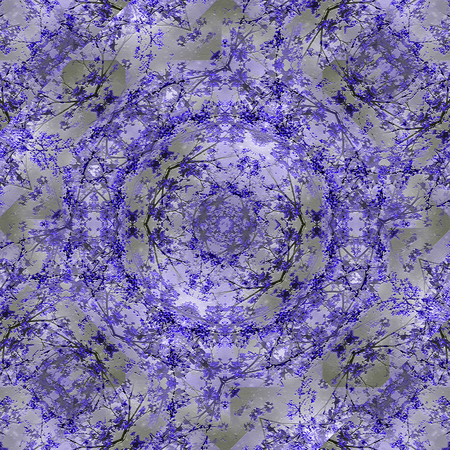 manipulation: Digital collage and manipulation technique nature motif pattern in blue and silver tones