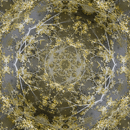 manipulation: Digital collage and manipulation technique nature motif pattern in gold and silver tones Stock Photo