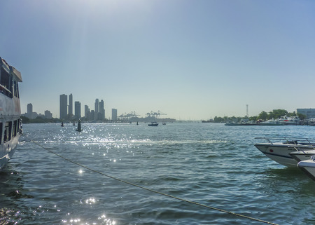 joyride: Bunch of boats and skyline at background in Cartagena, the most famous seaside resort of Colombia.