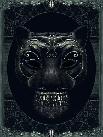 manipulation: Digital art collage and manipulation photo technique of a creepy mask portrait with ornate borders frame in cold tones and black colors.