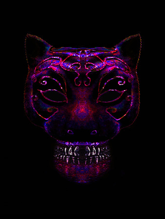 manipulation: Digital art collage and manipulation photo technique of isolated creepy decorated cat mask head in saturated reds and blue colors against black background Stock Photo