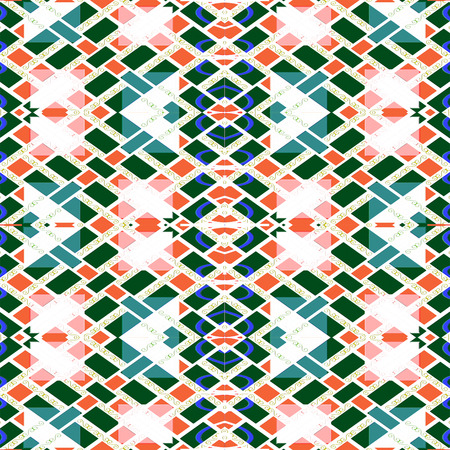 constructed: Digital art technique constructed modern geometric checks seamless pattern in mixed colors.