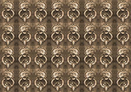 dark ages: Digital art grunge textured lions ornament art motif seamless pattern in brown colors.