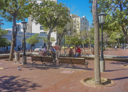 marta: SANTA MARTA, COLOMBIA, JANUARY - 2015 - Beautiful sunny day at traditional square in Santa Marta, one of the most important watering places of Colombia