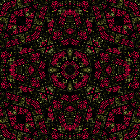 mixed colors: Luxury decorative modern abstract geometric complex ornate seamless pattern in vivid mixed colors.