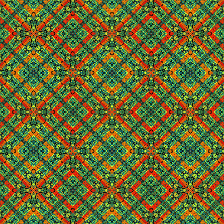 mixed colors: Digital art technique modern geometric decorative checks seamless pattern in vivid mixed colors. Stock Photo