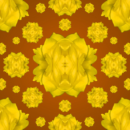 manipulated: Digital collage and manipulation technique modern geometric floral seamless pattern in mixed colors. Stock Photo