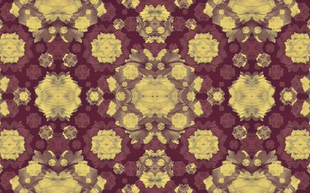 mixed colors: Digital collage and manipulation technique modern geometric floral seamless pattern in mixed colors. Stock Photo