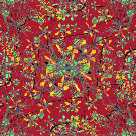 photo collage: Digital photo collage and manipulation technique oriental colorful floral nature motif artwork in mixed tones in red background. Stock Photo