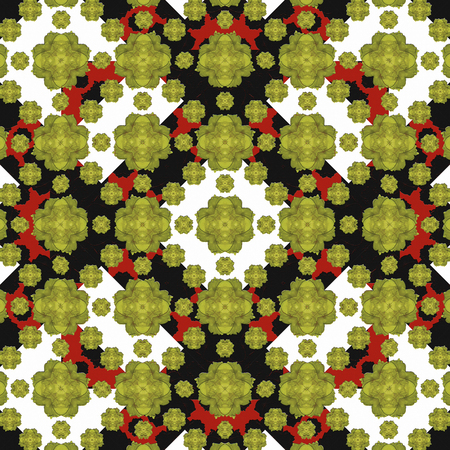 manipulation: Digital collage and manipulation technique modern geometric floral seamless pattern in mixed colors. Stock Photo