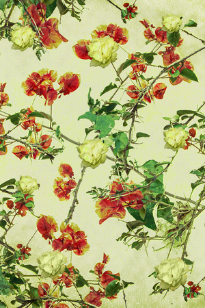 manipulation: Digital collage and manipulation technique vintage intricate floral collage motif pattern in pale mixed tones and light background.
