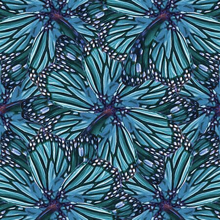 manipulation: Digital collage and manipulation technique modern floral motif pattern in vivid cold mixed colors.