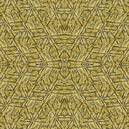 moder: Digital art style moder geometric tribal abstract intricate pattern in yellow golden tones.