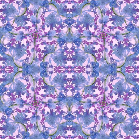 manipulated: Digital collage and manipulation technique modern geometric floral seamless pattern in mixed cold colors and white background